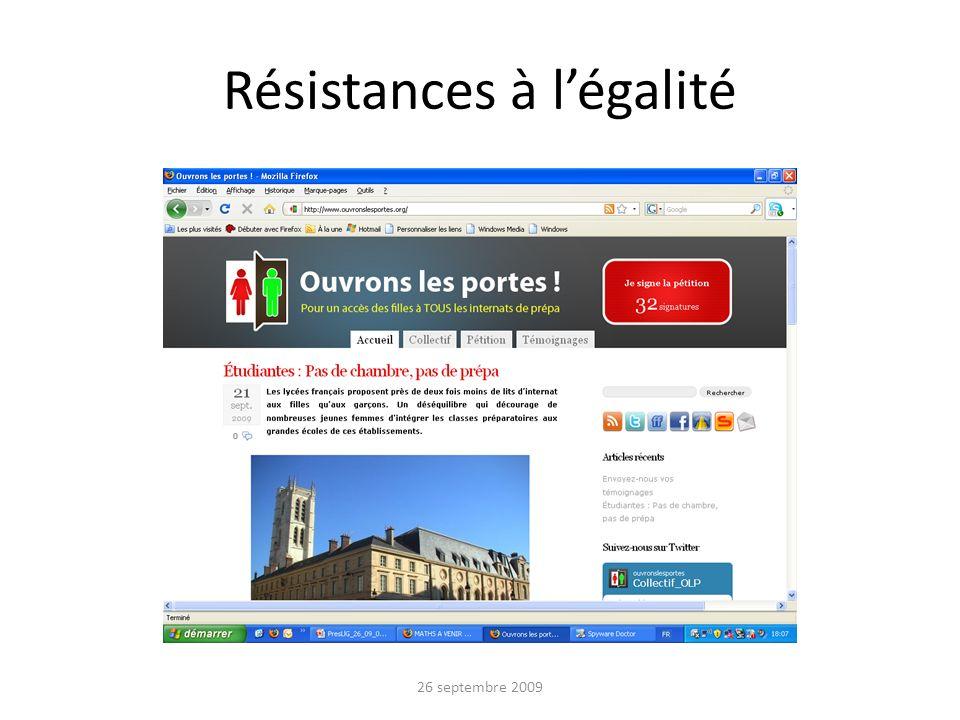 Résistances à légalité 26 septembre 2009