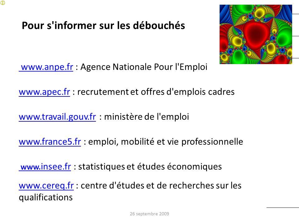 Pour s'informer sur les débouchés www.anpe.fr www.anpe.fr : Agence Nationale Pour l'Emploi www.apec.frwww.apec.fr : recrutement et offres d'emplois ca