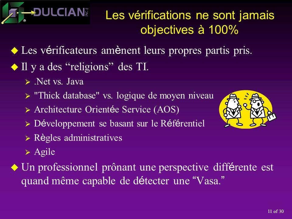 11 of 30 Les vérifications ne sont jamais objectives à 100% Les v é rificateurs am è nent leurs propres partis pris.