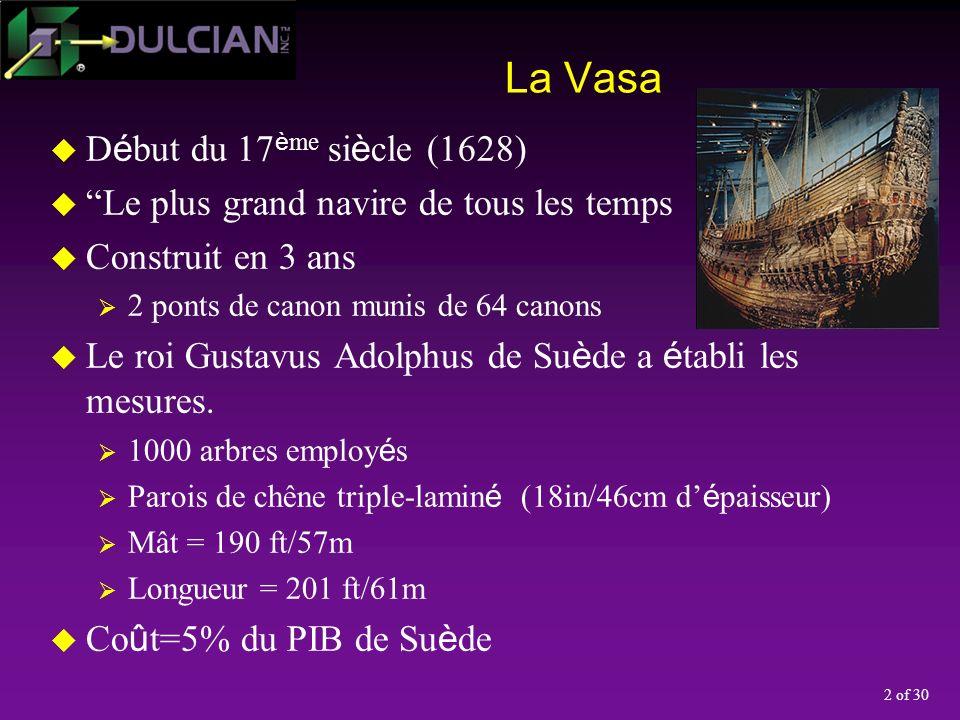 2 of 30 La Vasa D é but du 17 è me si è cle (1628) Le plus grand navire de tous les temps Construit en 3 ans 2 ponts de canon munis de 64 canons Le roi Gustavus Adolphus de Su è de a é tabli les mesures.