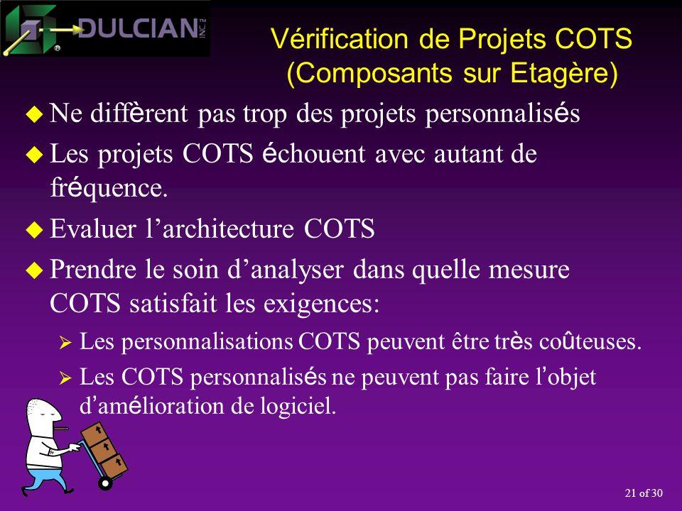 21 of 30 Vérification de Projets COTS (Composants sur Etagère) Ne diff è rent pas trop des projets personnalis é s Les projets COTS é chouent avec autant de fr é quence.