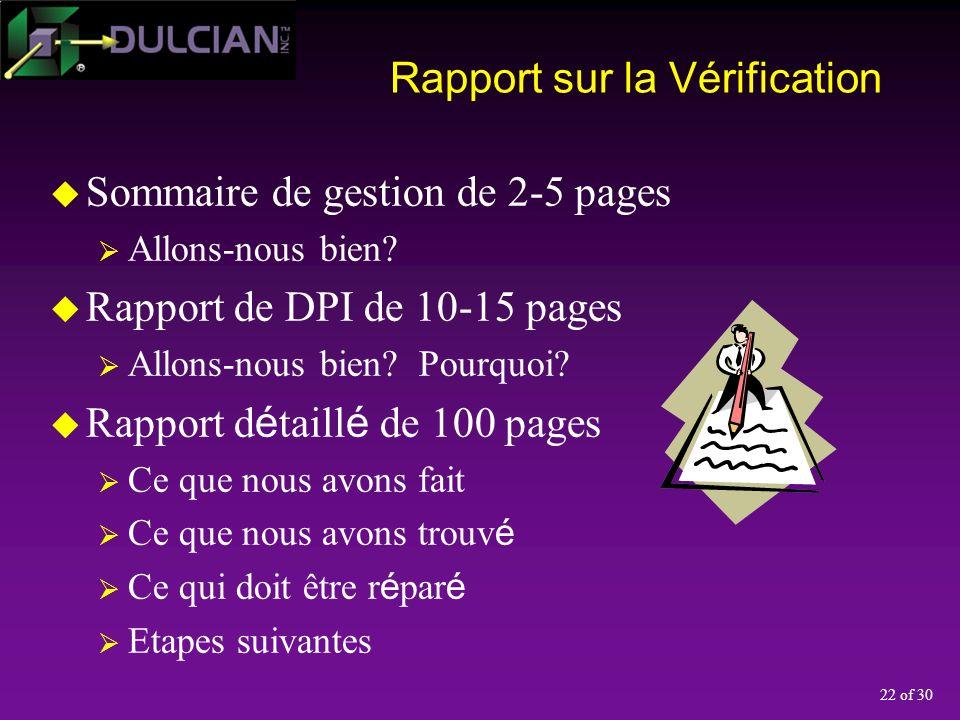 22 of 30 Rapport sur la Vérification Sommaire de gestion de 2-5 pages Allons-nous bien.