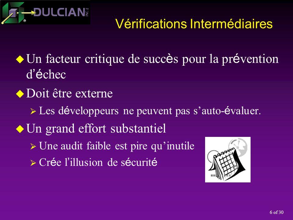 6 of 30 Vérifications Intermédiaires Un facteur critique de succ è s pour la pr é vention d é chec Doit être externe Les d é veloppeurs ne peuvent pas sauto- é valuer.