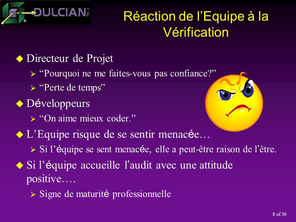 29 of 30 Conclusions Les v é rifications n empêchent pas l é chec; simplement, elles les d é tectent plus tôt dans la dur é e du processus.