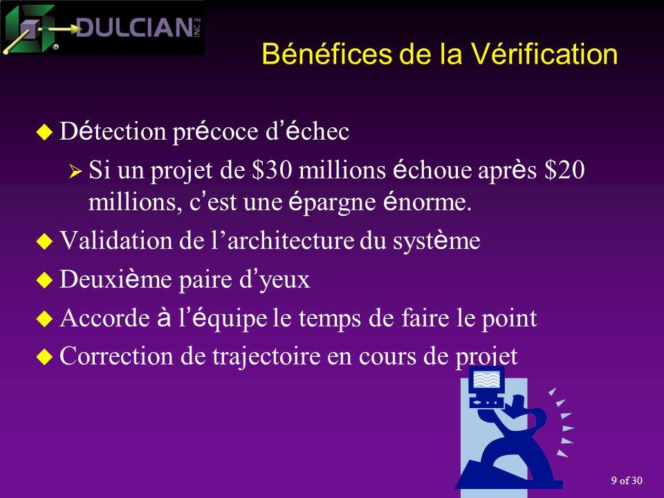 9 of 30 Bénéfices de la Vérification D é tection pr é coce d é chec Si un projet de $30 millions é choue apr è s $20 millions, c est une é pargne é norme.