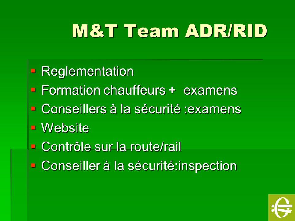 1 M&T Team ADR/RID M&T Team ADR/RID Reglementation Reglementation Formation chauffeurs + examens Formation chauffeurs + examens Conseillers à la sécur
