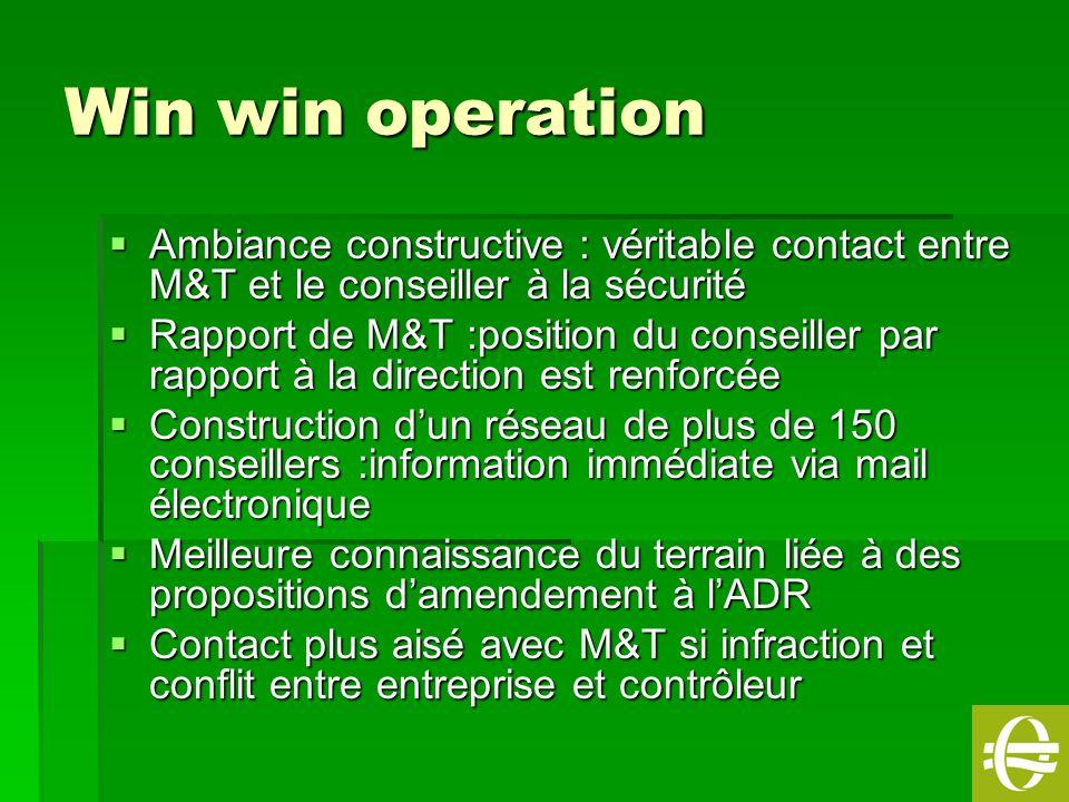 15 Win win operation Ambiance constructive : véritable contact entre M&T et le conseiller à la sécurité Ambiance constructive : véritable contact entr