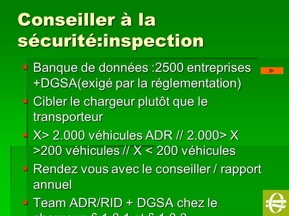 5 Conseiller à la sécurité:inspection Banque de données :2500 entreprises +DGSA(exigé par la réglementation) Banque de données :2500 entreprises +DGSA