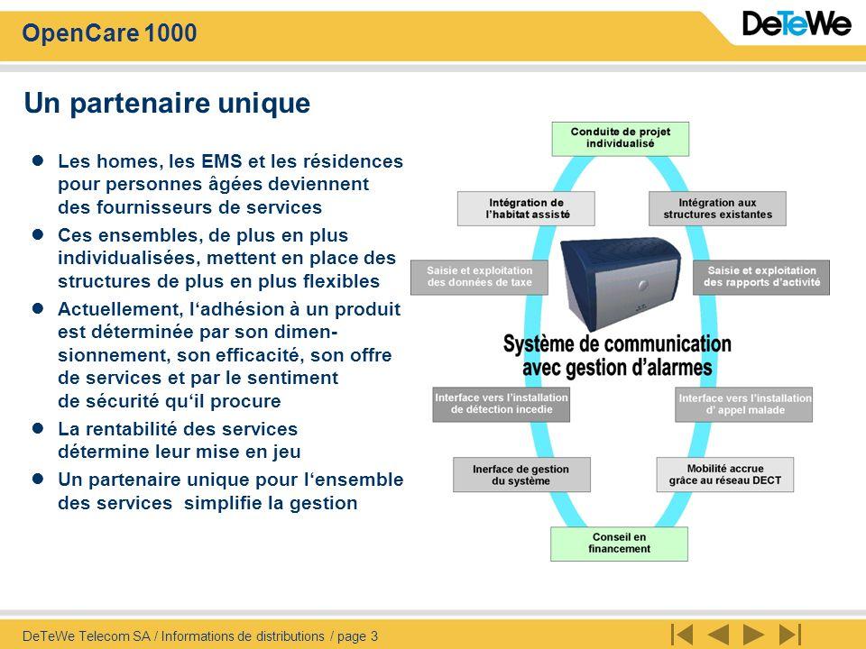OpenCare 1000 DeTeWe Telecom SA / Informations de distributions / page 4 Personnalisation grâce à lintégration de systèmes