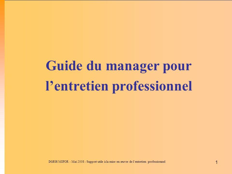 DGRH/MIFOR - Mai 2008 - Support utile à la mise en œuvre de lentretien professionnel 1 Guide du manager pour lentretien professionnel