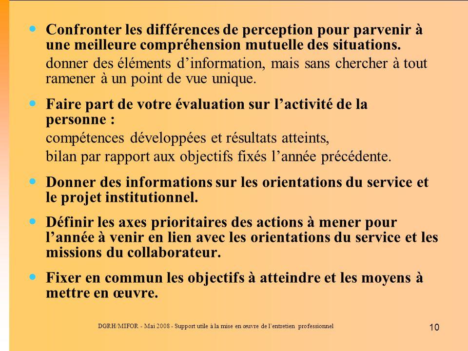 DGRH/MIFOR - Mai 2008 - Support utile à la mise en œuvre de lentretien professionnel 10 Confronter les différences de perception pour parvenir à une meilleure compréhension mutuelle des situations.