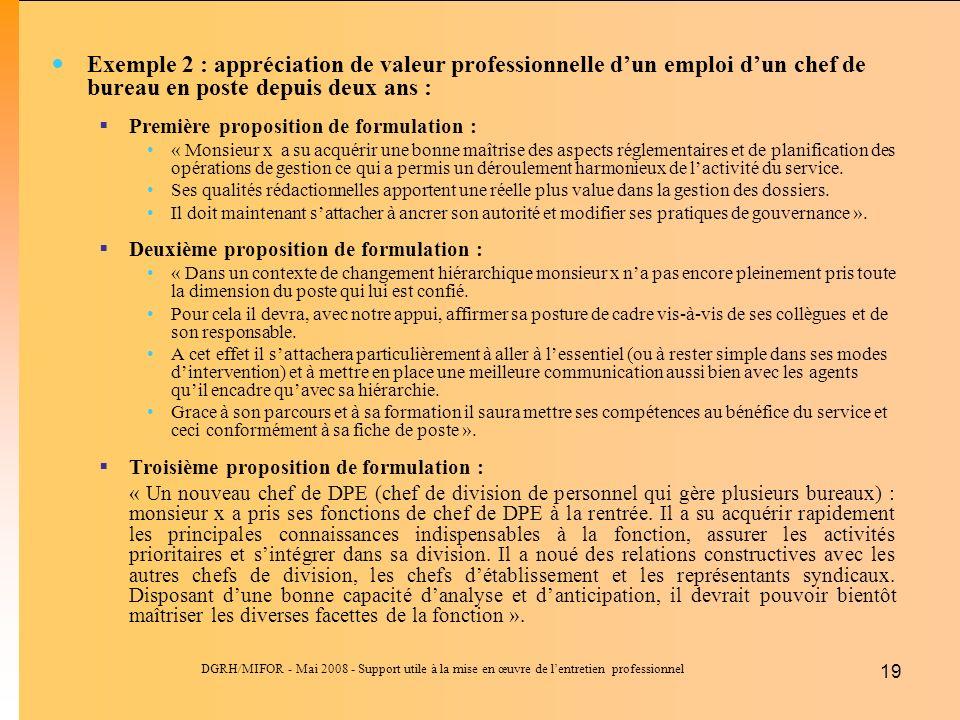 DGRH/MIFOR - Mai 2008 - Support utile à la mise en œuvre de lentretien professionnel 19 Exemple 2 : appréciation de valeur professionnelle dun emploi