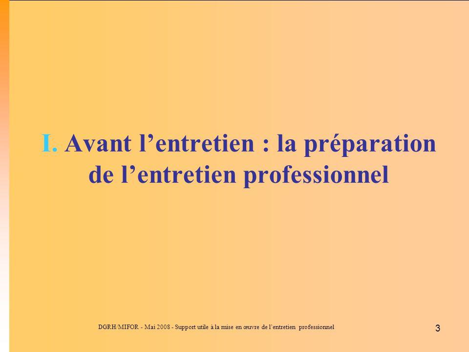 DGRH/MIFOR - Mai 2008 - Support utile à la mise en œuvre de lentretien professionnel 3 I. Avant lentretien : la préparation de lentretien professionne