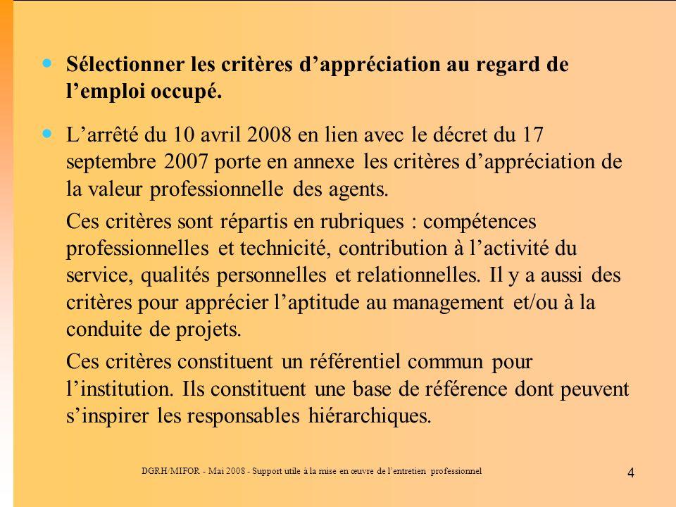 DGRH/MIFOR - Mai 2008 - Support utile à la mise en œuvre de lentretien professionnel 4 Sélectionner les critères dappréciation au regard de lemploi occupé.