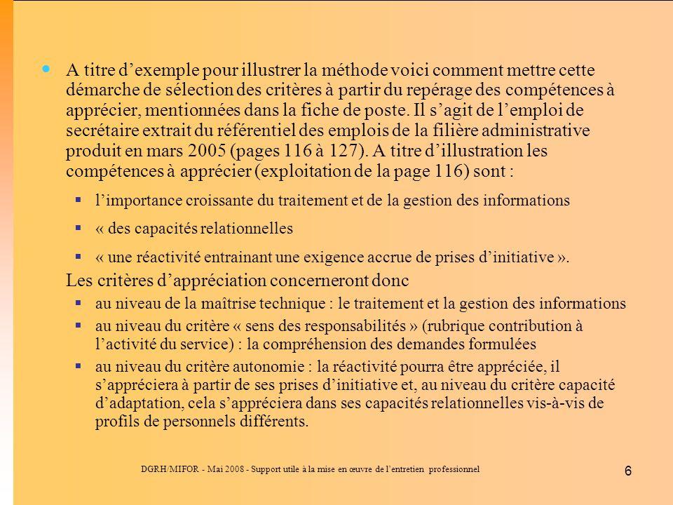 DGRH/MIFOR - Mai 2008 - Support utile à la mise en œuvre de lentretien professionnel 6 A titre dexemple pour illustrer la méthode voici comment mettre