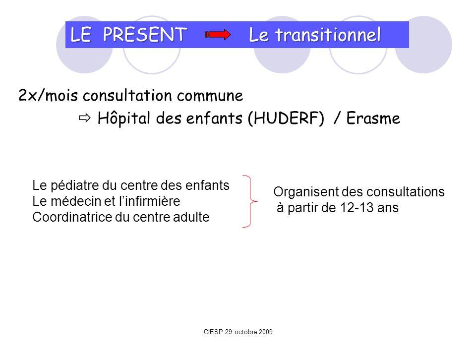 2x/mois consultation commune Hôpital des enfants (HUDERF) / Erasme LE PRESENT Le transitionnel Le pédiatre du centre des enfants Le médecin et linfirm