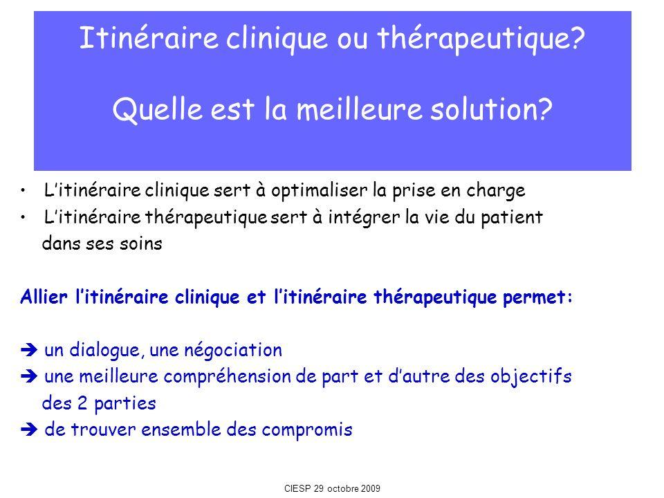 Litinéraire clinique sert à optimaliser la prise en charge Litinéraire thérapeutique sert à intégrer la vie du patient dans ses soins Allier litinérai