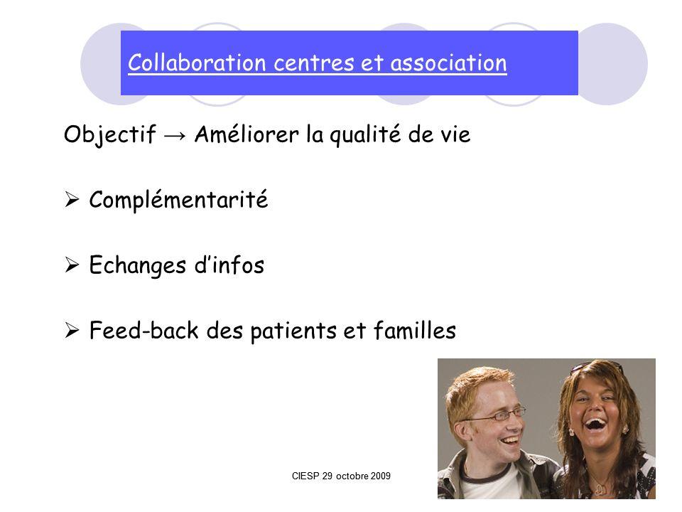 Objectif Améliorer la qualité de vie Complémentarité Echanges dinfos Feed-back des patients et familles Collaboration centres et association 8CIESP 29