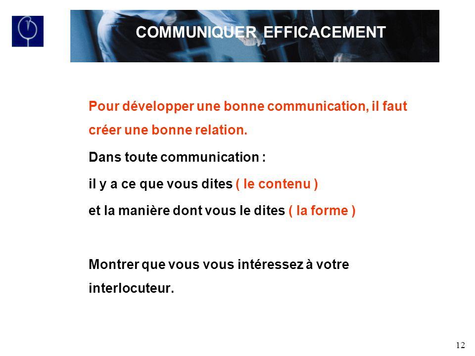 12 Pour développer une bonne communication, il faut créer une bonne relation.