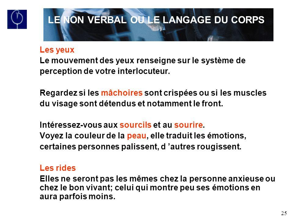 25 Les yeux Le mouvement des yeux renseigne sur le système de perception de votre interlocuteur.