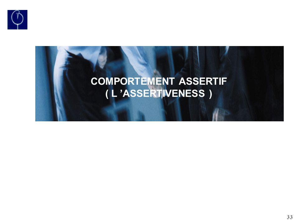 33 COMPORTEMENT ASSERTIF ( L ASSERTIVENESS )