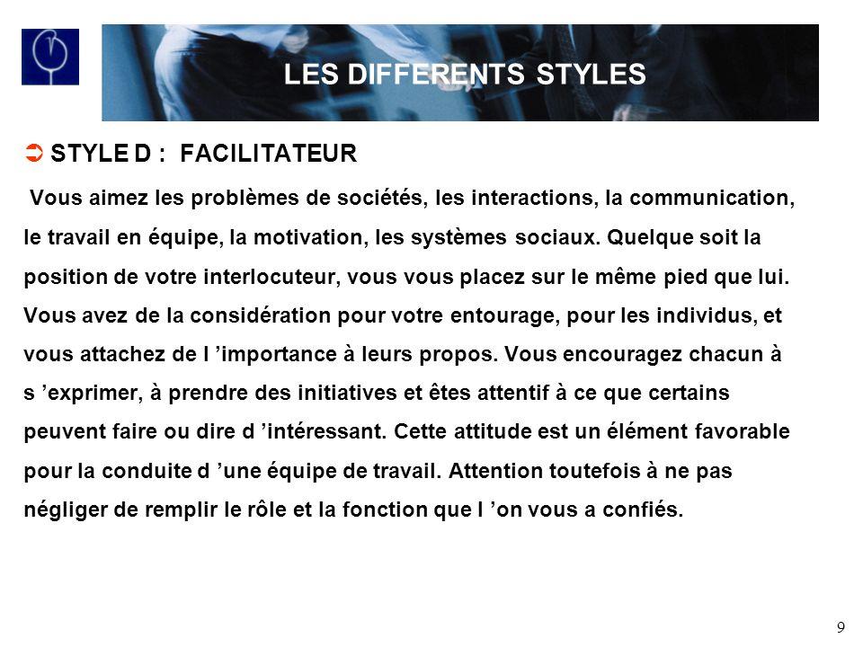 9 STYLE D : FACILITATEUR Vous aimez les problèmes de sociétés, les interactions, la communication, le travail en équipe, la motivation, les systèmes sociaux.