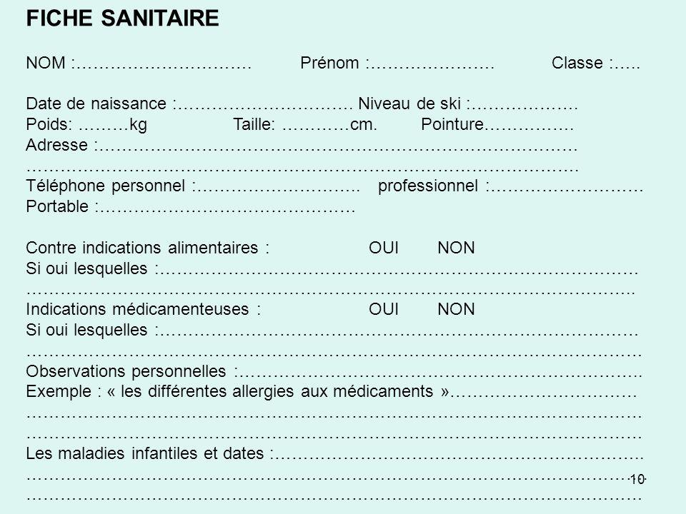 10 FICHE SANITAIRE NOM :………………………….Prénom :………………….