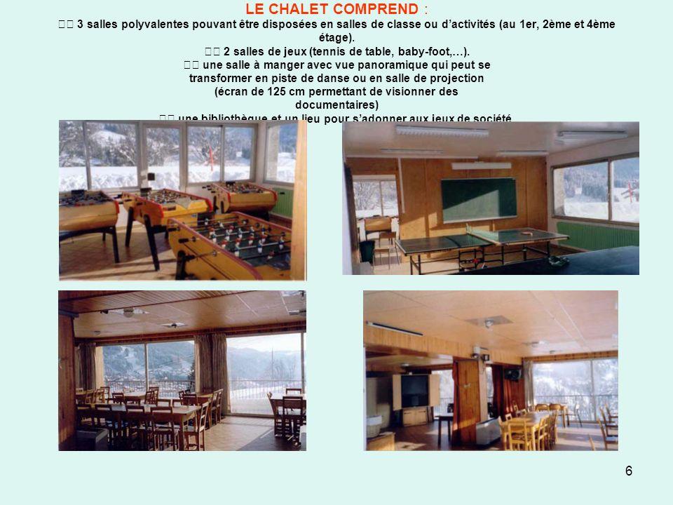 6 LE CHALET COMPREND : 3 salles polyvalentes pouvant être disposées en salles de classe ou dactivités (au 1er, 2ème et 4ème étage). 2 salles de jeux (