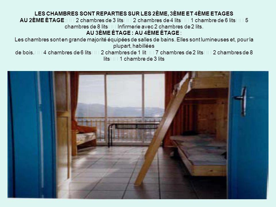 7 LES CHAMBRES SONT REPARTIES SUR LES 2ÈME, 3ÈME ET 4ÈME ETAGES AU 2ÈME ÉTAGE : 2 chambres de 3 lits 2 chambres de 4 lits 1 chambre de 6 lits 5 chambres de 8 lits Infirmerie avec 2 chambres de 2 lits.