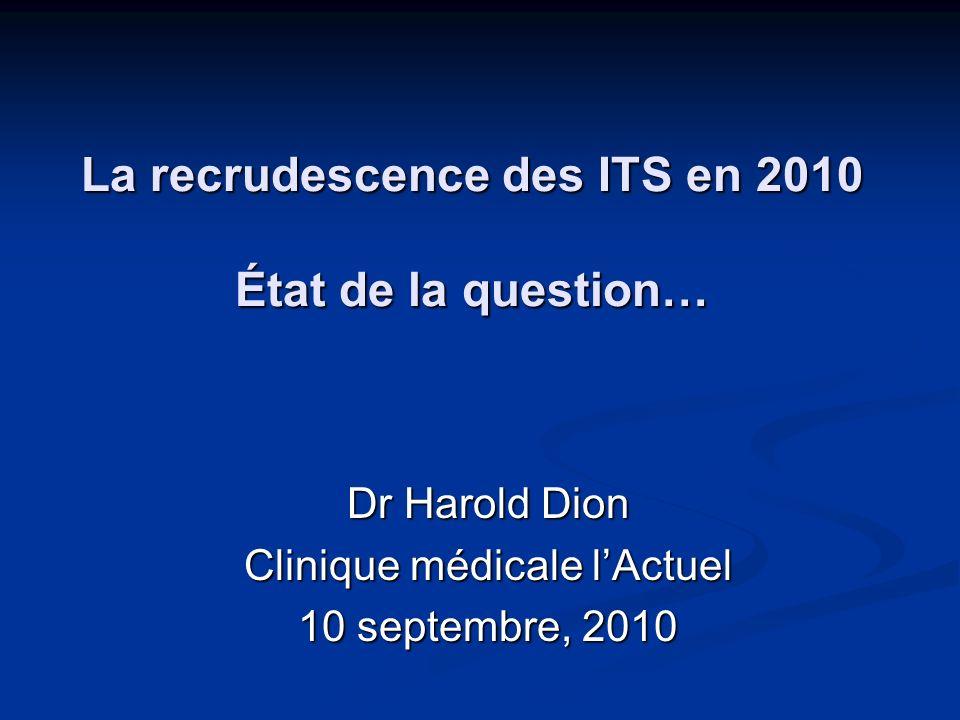 La recrudescence des ITS en 2010 État de la question… Dr Harold Dion Clinique médicale lActuel 10 septembre, 2010
