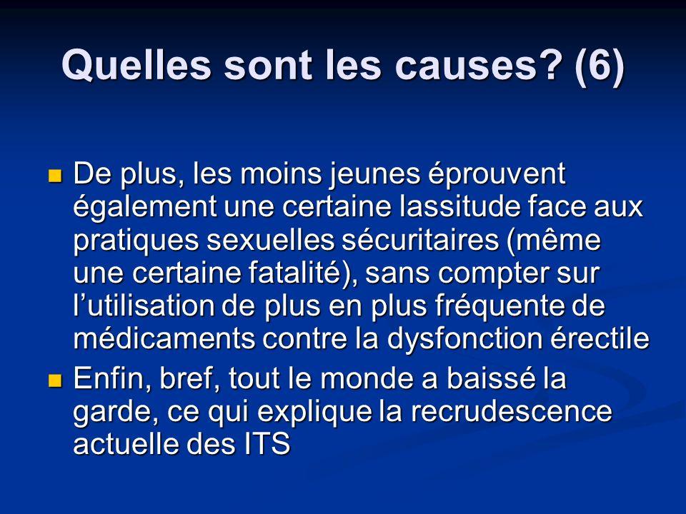 Quelles sont les causes? (6) De plus, les moins jeunes éprouvent également une certaine lassitude face aux pratiques sexuelles sécuritaires (même une