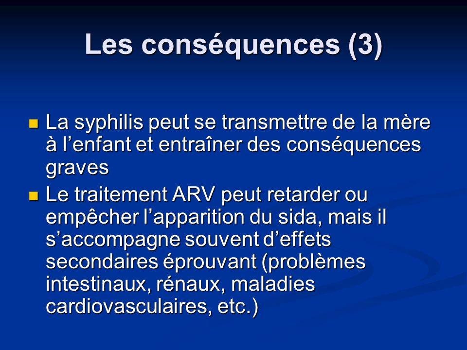 Les conséquences (3) La syphilis peut se transmettre de la mère à lenfant et entraîner des conséquences graves La syphilis peut se transmettre de la m