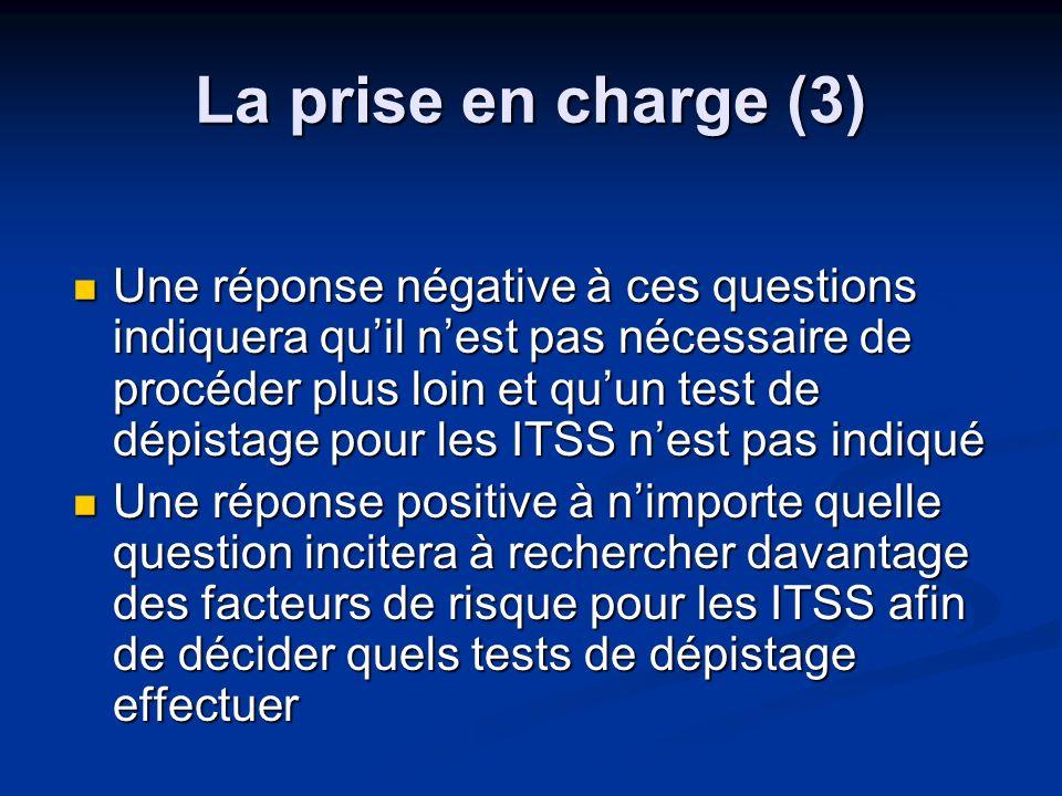 La prise en charge (3) Une réponse négative à ces questions indiquera quil nest pas nécessaire de procéder plus loin et quun test de dépistage pour le