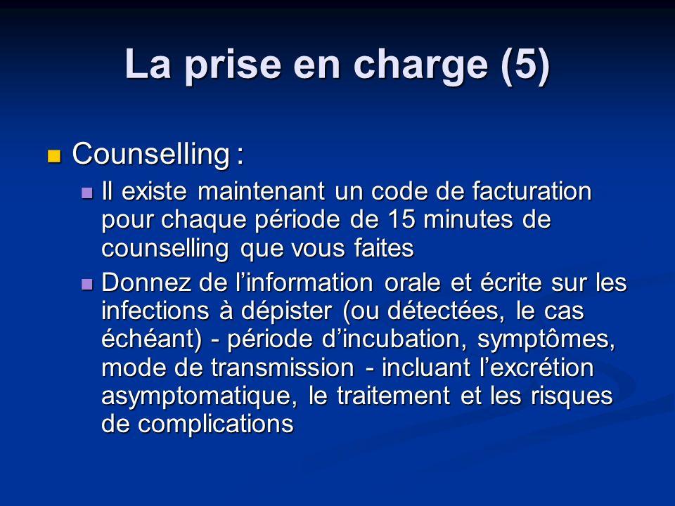 La prise en charge (5) Counselling : Counselling : Il existe maintenant un code de facturation pour chaque période de 15 minutes de counselling que vo