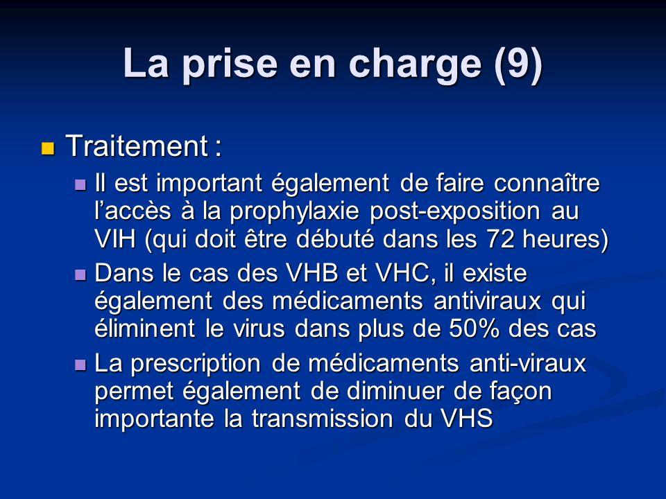 La prise en charge (9) Traitement : Traitement : Il est important également de faire connaître laccès à la prophylaxie post-exposition au VIH (qui doi