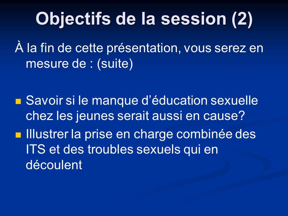 Objectifs de la session (2) À la fin de cette présentation, vous serez en mesure de : (suite) Savoir si le manque déducation sexuelle chez les jeunes