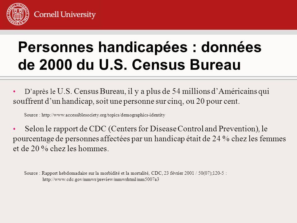 Personnes handicapées : données de 2000 du U.S.Census Bureau Daprès le U.S.