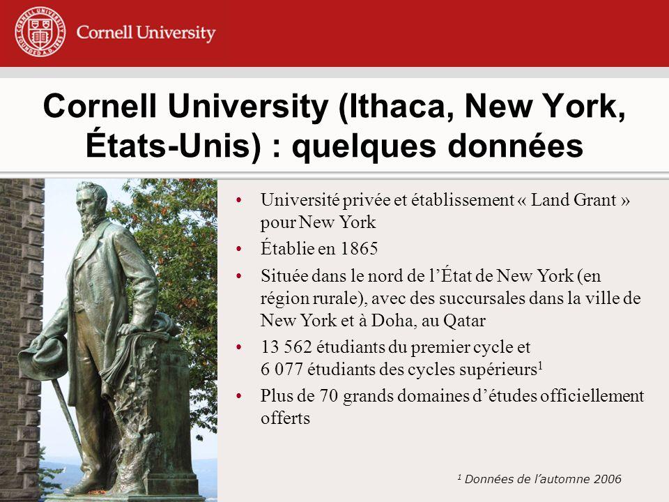 Université privée et établissement « Land Grant » pour New York Établie en 1865 Située dans le nord de lÉtat de New York (en région rurale), avec des succursales dans la ville de New York et à Doha, au Qatar 13 562 étudiants du premier cycle et 6 077 étudiants des cycles supérieurs 1 Plus de 70 grands domaines détudes officiellement offerts 1 Données de lautomne 2006 Cornell University (Ithaca, New York, États-Unis) : quelques données