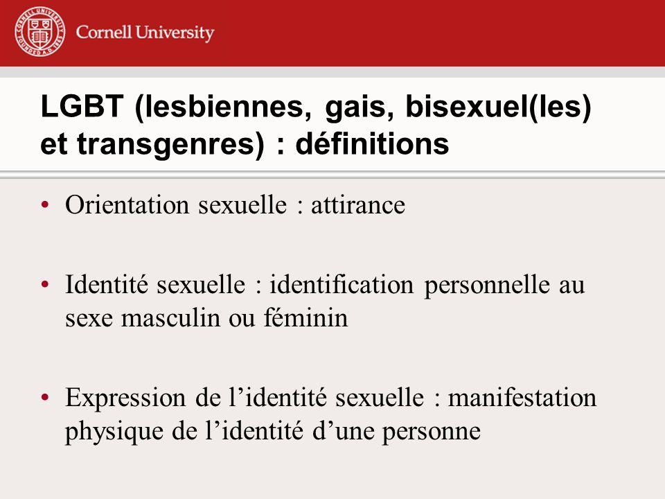 LGBT (lesbiennes, gais, bisexuel(les) et transgenres) : définitions Orientation sexuelle : attirance Identité sexuelle : identification personnelle au sexe masculin ou féminin Expression de lidentité sexuelle : manifestation physique de lidentité dune personne