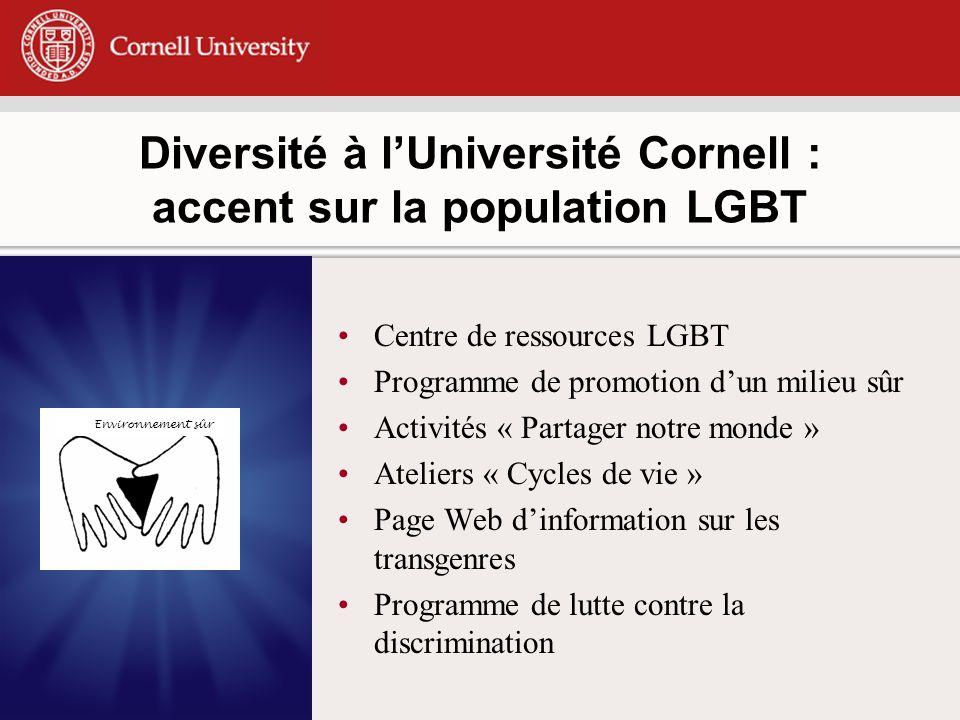 Diversité à lUniversité Cornell : accent sur la population LGBT Centre de ressources LGBT Programme de promotion dun milieu sûr Activités « Partager notre monde » Ateliers « Cycles de vie » Page Web dinformation sur les transgenres Programme de lutte contre la discrimination Environnement sûr