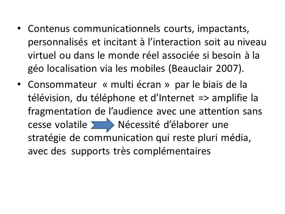 Contenus communicationnels courts, impactants, personnalisés et incitant à linteraction soit au niveau virtuel ou dans le monde réel associée si besoin à la géo localisation via les mobiles (Beauclair 2007).