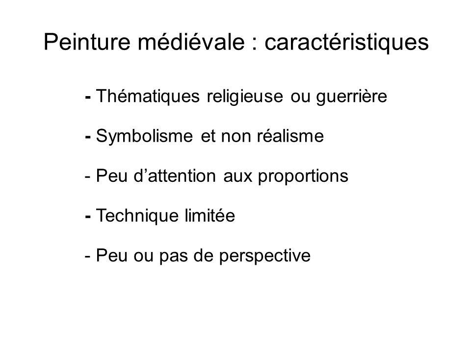 Peinture médiévale : caractéristiques - Thématiques religieuse ou guerrière - Symbolisme et non réalisme - Peu dattention aux proportions - Technique