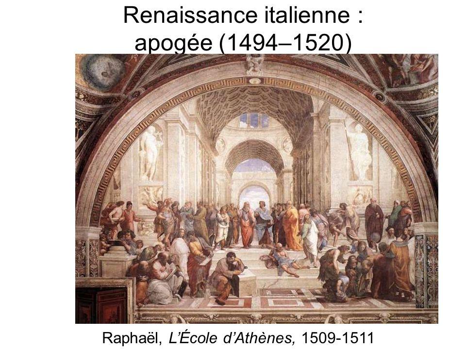 Renaissance italienne : apogée (1494–1520) Raphaël, LÉcole dAthènes, 1509-1511