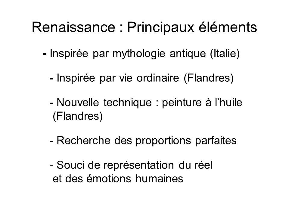 Renaissance : Principaux éléments - Recherche des proportions parfaites - Inspirée par mythologie antique (Italie) - Nouvelle technique : peinture à l
