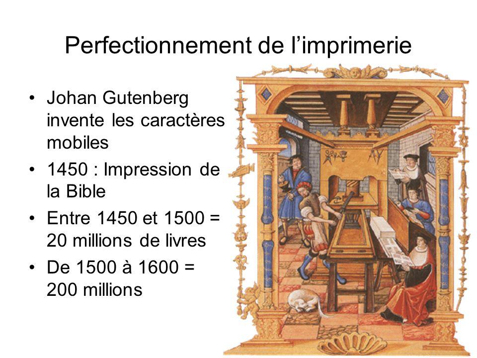 Perfectionnement de limprimerie Johan Gutenberg invente les caractères mobiles 1450 : Impression de la Bible Entre 1450 et 1500 = 20 millions de livre