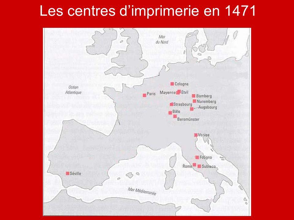 Les centres dimprimerie en 1471