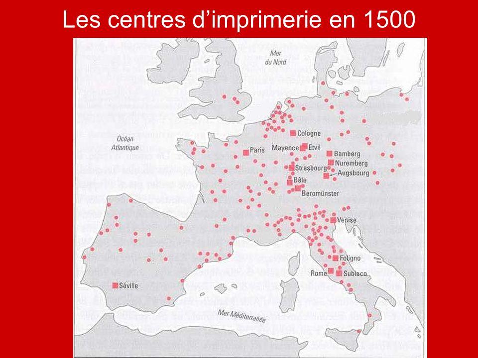 Les centres dimprimerie en 1500