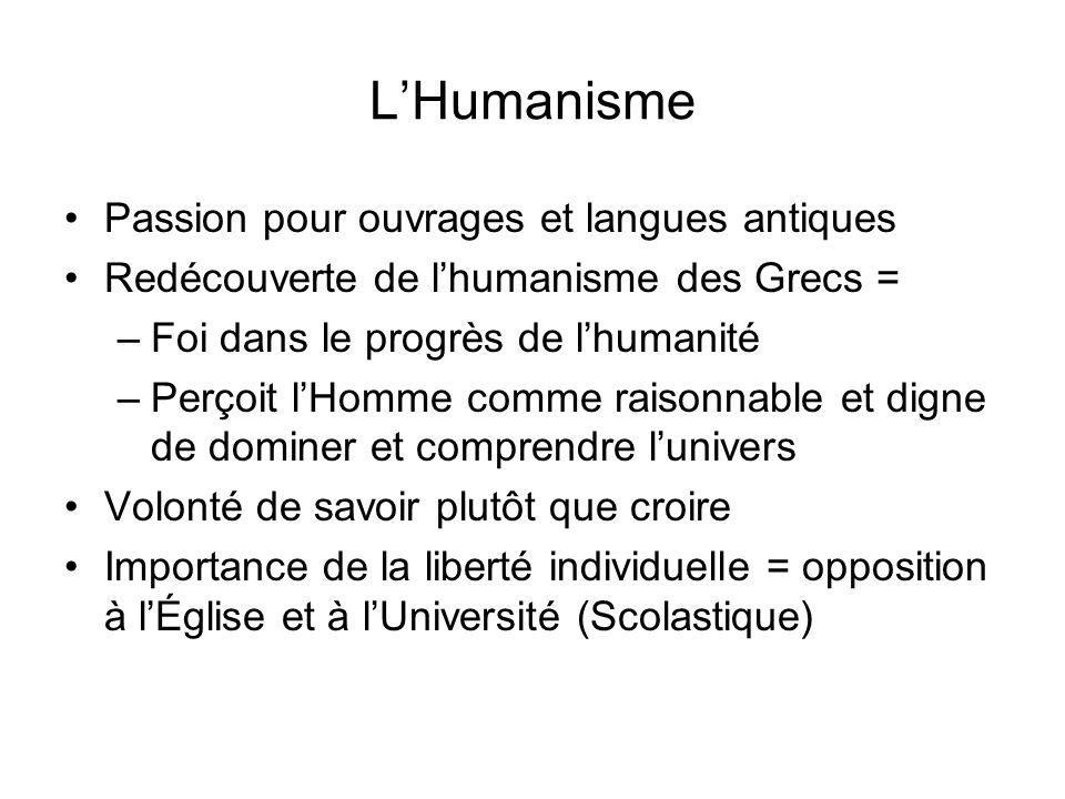 LHumanisme Passion pour ouvrages et langues antiques Redécouverte de lhumanisme des Grecs = –Foi dans le progrès de lhumanité –Perçoit lHomme comme ra
