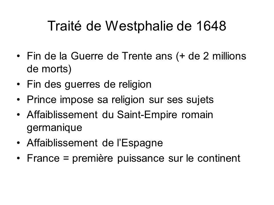 Traité de Westphalie de 1648 Fin de la Guerre de Trente ans (+ de 2 millions de morts) Fin des guerres de religion Prince impose sa religion sur ses s