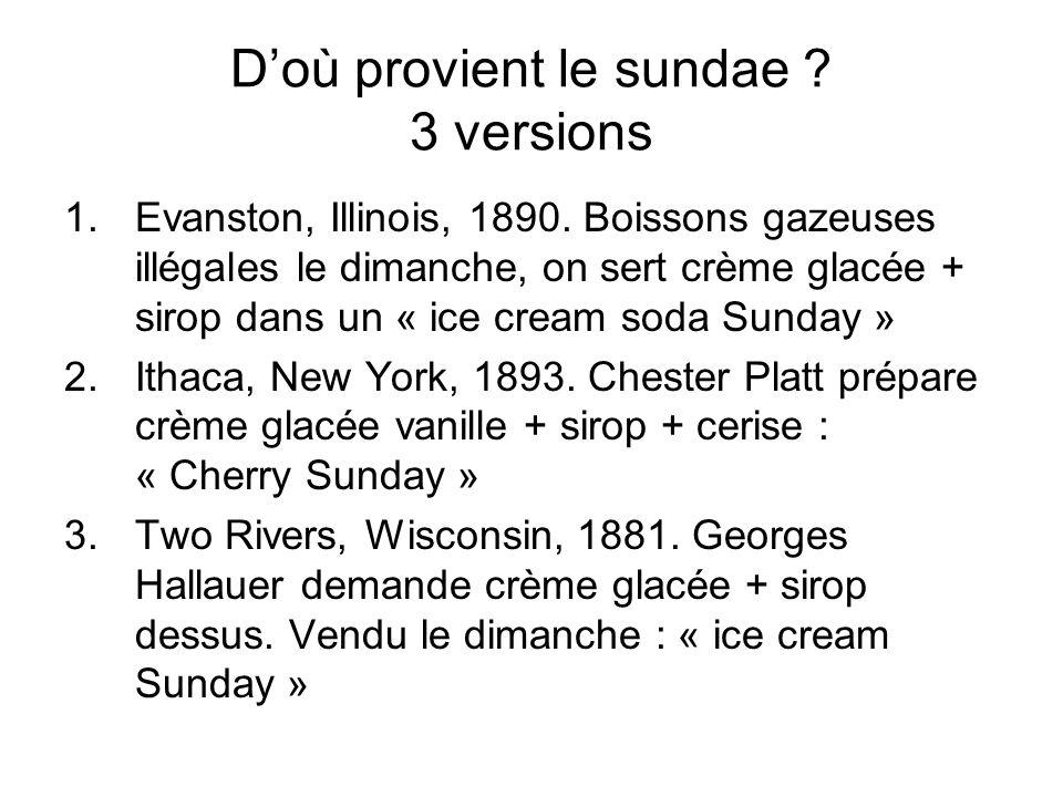 Doù provient le sundae ? 3 versions 1.Evanston, Illinois, 1890. Boissons gazeuses illégales le dimanche, on sert crème glacée + sirop dans un « ice cr